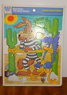 Vintage Road Runner Wile E Coyote Frame-Tray Puzzle 1977 Whitman 4515D #Whitman