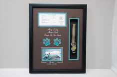 """16"""" x 20"""" Dog Memorial Shadow Box Frame """"Madison"""" was loved by many.  AKC papers were mounted in the layout along with her dog collar and tags.  R. I. P. Doggy"""