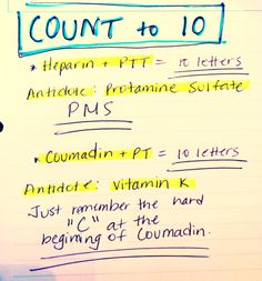 """ Notes - Tricks to remember which test is used for each drug and also, what is the antidote in case of overdose. And remember normal clotting times: PT: PTT: INR: "" Nursing School Tips, Nursing Tips, Nursing Notes, Nursing Schools, Ob Nursing, Nursing Degree, Funny Nursing, Rn Nurse, Nurse Life"