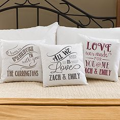 OMG I want ALL of these! Personalized Throw Pillows with Romantic Love Quotes in beautiful designs and colors .... personalize any of them with any line at the bottom. These are great engagement or wedding gift ideas! I'm getting them for all my friends!