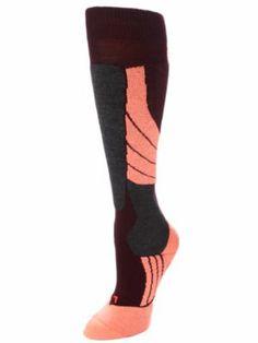 women's sk2 burgunday ski sock, medium volume for optimal performance in low temps