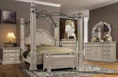 "Mc Ferran B6006 5 pc Astoria grand tuscan ii antique white finish wood four poster canopy queen bedroom set. This set includes the Bed, nightstand, dresser, mirror and chest. Queen bed measures 99"" x 70"" x 96"" . Nightstand measures 34"" x 20.5"" x 32"" H. Dresser measures 76"" x 21"" x 42"" H. Mirror measures 48"" x 2.5"" x 54"" H. Chest measures 41"" x 21"" x 53"" H. Also available in Cal king and Eastern King at additional... Canopy Bedroom, Queen Bedroom, Queen Beds, Bedroom Furniture Sets, Bedroom Sets, Bedding Sets, Lamps, Dresser, Tables"