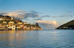 Sun is setting over #Kingswear #Devon #DartValley | Photo: Nigel Evans from the book Reflections of Dartmouth