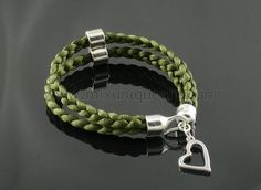 Green double braid with heart charm