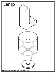 L For Lamp Alphabet Coloring Page Free High Quality Printable
