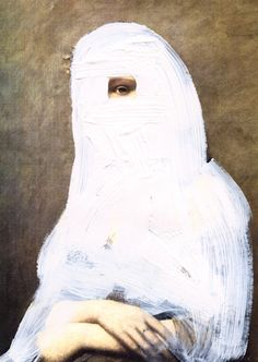 Chad Wys - Cloaked Girl, paint on laser print