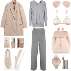 Dusty Pink + Grey by fashionlandscape on Polyvore featuring Mode, HUGO, Haider Ackermann, Kiki de Montparnasse, Common Projects, Mansur Gavriel, Topshop, Ray-Ban, Ilia and Charlotte Tilbury