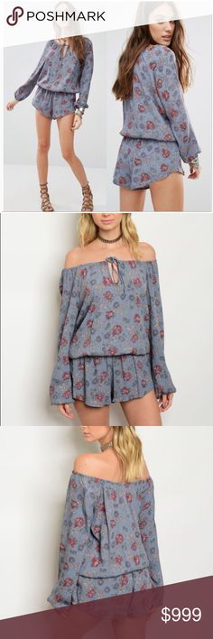 ✔️Coming Soon 🆕 Floral Off Shoulder Romper Coming this week!  Floral romper. Can be worn on or off shoulder. Measurements will be added once item arrives. Like this listing to be notified of arrival. Price will not exceed $39. Pants Jumpsuits & Rompers