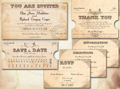 Printable Vintage Wedding Invitations New Orleans Suite Train Ticket By Jessica Cates