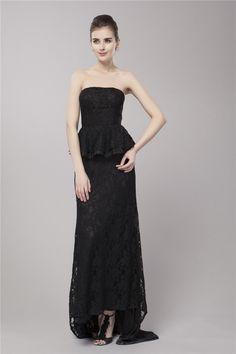 $129.89 Sheath Column Strapless Court Train Lace dress with Ruffles -Evening Dresses-DeniseDress