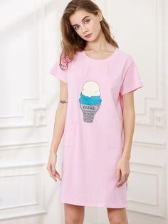 Camisón con estampado de helado-(Sheinside)