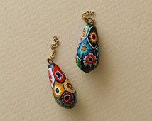 MILLEFIORI Venetian Glass Earrings Early 1920s Vintage