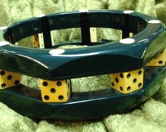 Shultz Bakelite Chunky Teal Octagonal Bangle with Dice and Dots - Signed