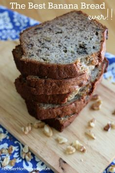 Banana Bread - Hands down the best Banana Bread Recipe I have ever made! This recipe was passed down from my Mom! Super easy too! No mixer needed! Add nuts or not, either way it's delicious! Pin to your Recipe Board!