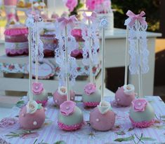Pretty cake pops at a shabby chic birthday party! See more party ideas at CatchMyParty.com!