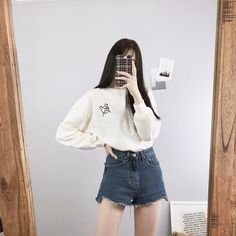 Image may contain: one or more people, people standing and shorts Korean Girl Fashion, Korean Fashion Online, Korean Fashion Trends, Fashion Now, Korean Street Fashion, Ulzzang Fashion, Cute Fashion, Trendy Fashion, Korean Fashion Shorts