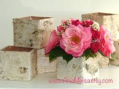 Rustic floral centerpieces - birch bark planters