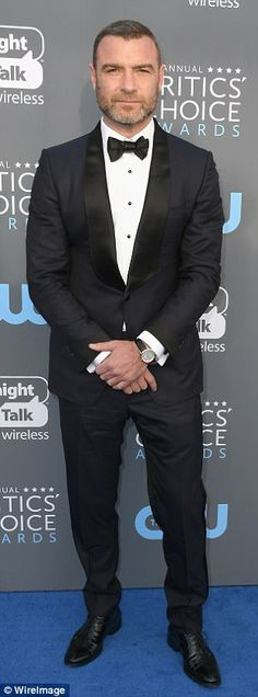 Good choice:Andy Cohen (l) andLiev Schreiber (r) rocked navy suits with a bow tie and pa...