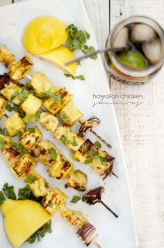hawaiian pineapple glazed chicken skewers | bigredclifford.com