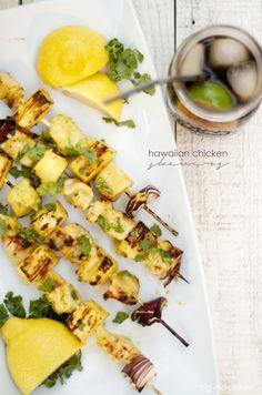 hawaiian pineapple glazed chicken skewers | bigredclifford.com