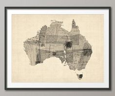 Old Postcard Map of Australia Map Art Print 1482 by artPause