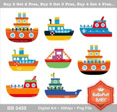 Digital Ships Clip Art  Personal and Small by babapuffbaby on Etsy, $5.00