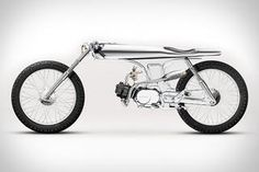 """""""Based"""" on a 1967 Honda SS pretty much entirely outfitted in all chrome. Would look awesome as a piece of art in the house or loft space or office, but to actually ride it? Concept Motorcycles, Custom Motorcycles, Custom Bikes, Honda Custom, Custom Moped, Indian Motorcycles, Custom Choppers, Triumph Motorcycles, Scooter Motorcycle"""