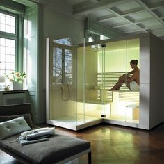 This is relaxing after a long day! Contemporary design shower and sauna unit. Duravit Inipi Sauna from C. Contemporary Saunas, Modern Saunas, Contemporary Design, Sauna Shower, Shower Cabin, Bad Inspiration, Bathroom Inspiration, Design Sauna, Private Sauna