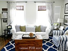 Really like this room. Nautical family room - great mix of patterns. Eclectically Vintage blog
