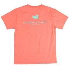 Southern Marsh Authentic T-Shirt (many colors) ($30) ❤ liked on Polyvore featuring tops, t-shirts, shirts, tees, shirts & tops, pocket tees, red top, pocket t shirts and red tee
