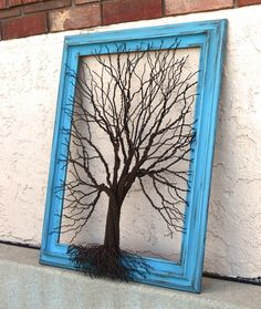 Amy Giacomelli Painting Original Large Tree Abstract Sculpture ... Wire tree on aqua vintage salvaged frame. $325.00, via Etsy.