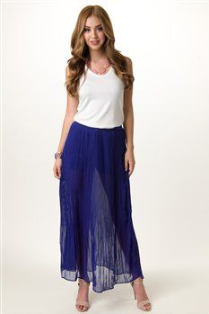 #shopevaboutique.com      #Skirt                    #Pleated #Maxi #Skirt #with #Shorts                 Pleated Maxi Skirt with Shorts                                                http://www.seapai.com/product.aspx?PID=29689