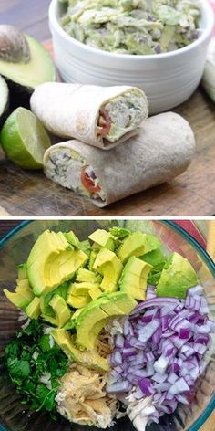 This avocado chicken salad is low carb and keto friendly! It's packed with healthy avocado and juicy chicken This avocado chicken salad is low carb and keto friendly! It's packed with healthy avocado and juicy chicken Healthy Chicken Recipes, Healthy Dinner Recipes, Vegetarian Recipes, Cooking Recipes, Soup Recipes, Chicken Wrap Recipes, High Protein Recipes, Family Recipes, Healthy Chicken Wraps