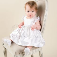 Baby Girl Silk Christening Dress - Leila White Christening/Baptism Collection - Designer Gowns & Dresss