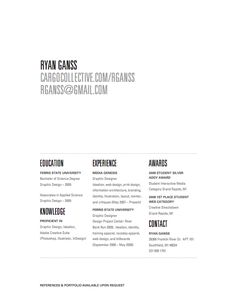 Resume. I love the layout. So much white space. Clean and to the point.