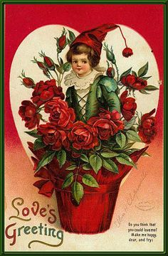 "Antique ""Love's Greeting"" Valentine postcard illustrated by Ellen Clapsaddle, via As the Clever Crow Flew. Victorian Valentines, Vintage Valentine Cards, Vintage Greeting Cards, Vintage Holiday, Valentine Day Cards, Vintage Postcards, Happy Valentines Day, Valentine Roses, Images For Valentines Day"