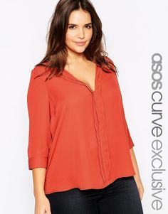 Image 1 of ASOS CURVE 3/4 Sleeve Blouse with Pintuck Detail