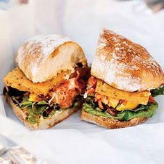 Portland Streetfood - Spicy Chickpea Sandwiches via Sunset Magazine - In the streets of Palermo, Sicily, you'll find panelle, fried chickpea-flour patties served on a roll. Kevin Sandri of Garden State adds a carrot slaw, salad greens, roasted squash, and spicy aioli for an exceptionally tasty vegetarian sandwich. Here's our simplified version, broiled and minus the squash.