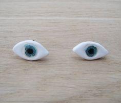 Eye Earrings Handmade Ceramic earrings ceramic jewelry / glazed ceramic earrings / bijoux ceramique / broche ceramique oeil evil eye jewelry by CoucouSuzette on Etsy