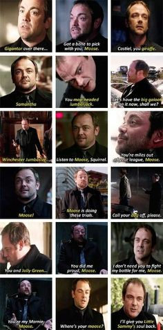 The many nicknames given to Sam by Crowley ( Mark Sheppard ) on Supernatural