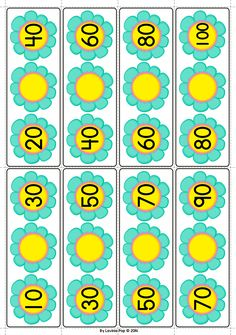 Spring Math Centers for Kindergarten. Skip counting by 10s.