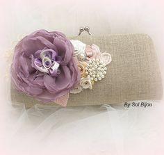 Linen Clutch Bridal Clutch in Vintage Lilac Rose Blush by SolBijou