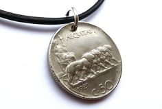 Italian, Coin necklace, Mens gift, Vintage necklace, Mens necklace, Mens jewelry, Leather necklace, Mythology, Roman, Italian jewelry, 1921