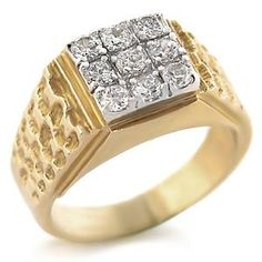 Two Tone Square Mens Ring Clear CZ - Jewelry Sale
