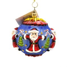 Santa Circle Of Cheer Glass Ornament