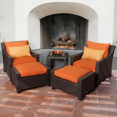 Our Deco 5 piece Club Chair and Ottoman Set in Tikka is the perfect way to enjoy your outdoor getaway!