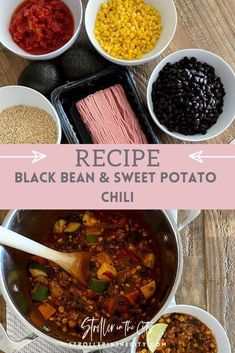 Easy Black Bean & Sweet Potato Chili Recipe. This chili recipe makes for a great fall dish. Healthy and full of great protein but it is also seriously delicious! It can be made in the crock pot with meat or vegetarian. It is one of my favorite meals to make in winter. #Chili #FallRecipe #DinnerIdeas Fall Dinner Recipes, Dinner Ideas, Chili Ingredients, Sweet Potato Chili, Fall Dishes, Healthy Family Meals, Chili Recipes, Soup Recipes, Cooking Turkey
