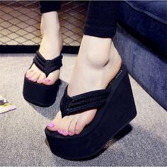 9d889fbafda959 High Heels Beach Sandals Soild Wedge 2016 New Women Summer Shoes Platform  Flip Flops Woman Shoes Ladies Thick High Pantufas