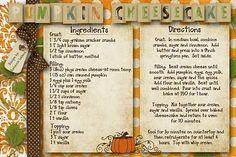 pumpkin cheesecake-cute scrap recipe card.