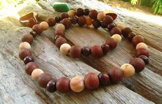 Petrified fossilized Beaded Choker Necklace / Tribal Necklace